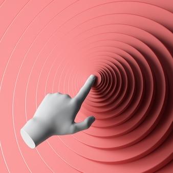 3d render mão manequim branco empurrando o botão redondo vermelho.