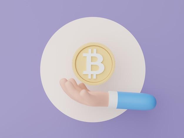 3d render mão segurando criptomoeda bitcoin criptomoeda conceito de moeda digital