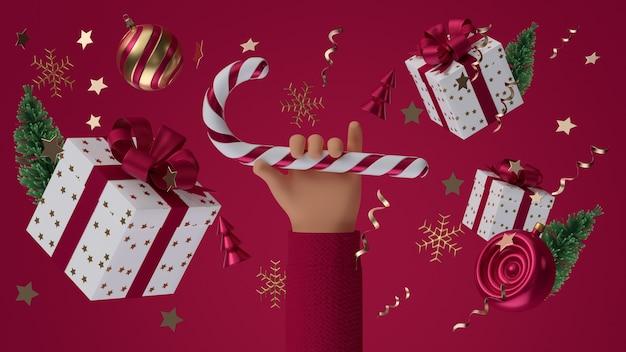 3d render mão segurando doces de natal no fundo brilhante