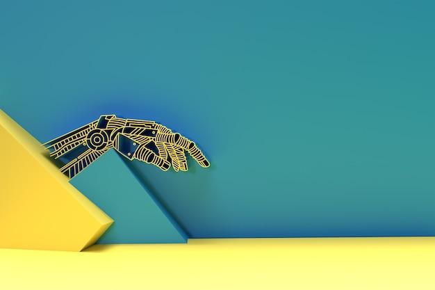3d render mãos de robo, realidade virtual ou conceito de tecnologia de inteligência artificial 3d.