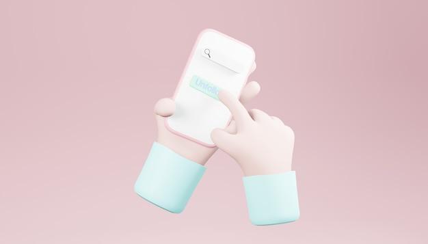 3d render mãos segurando um smartphone em um fundo rosa claro
