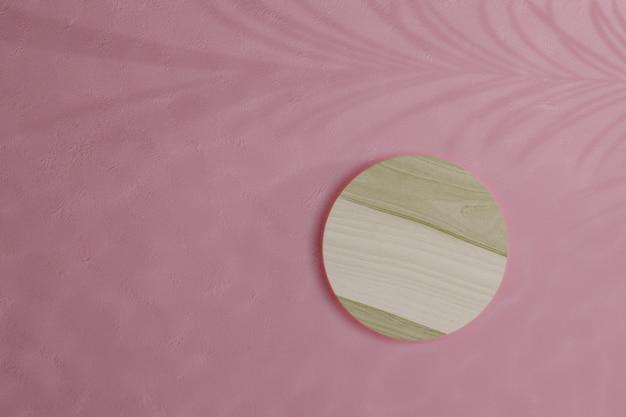 3d render maquete de madeira com rosa
