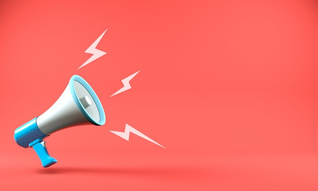 3d render megafone com fundo de bolha do discurso