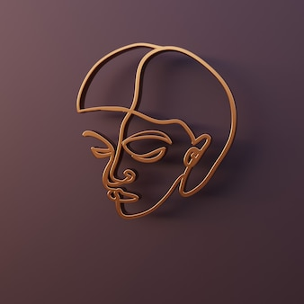 3d render minimal abstract woman portrait perfil de rosto feminino feito de fio dourado arte linear simples