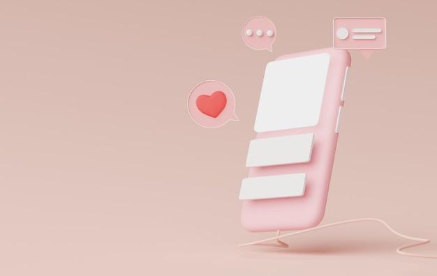 3d render minimal mini telefone celular ou smartphone para trabalhar com espaço de cópia em branco