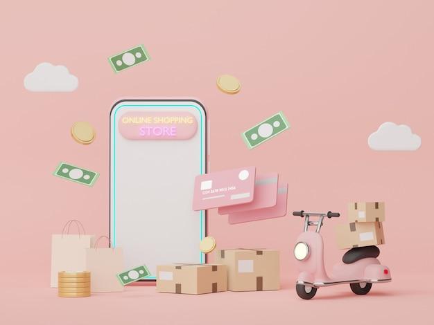 3d render minimal smartphone com conceitos de dinheiro de cartões de crédito planejamento financeiro compras online