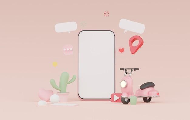 3d render minimal smartphone para trabalhar com espaço de cópia em branco
