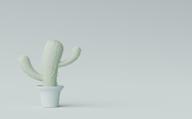 3d render mínimo de cacto de desenho animado em um vaso de árvore em um fundo de tons terra pastel exibir cena
