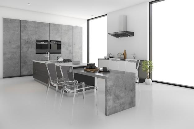 3d, render, mínimo, loft, concreto, cozinha, e, sala de jantar