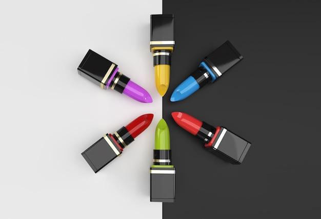 3d render mockup de batons cena mínima do pódio para design de publicidade de produtos de exibição.