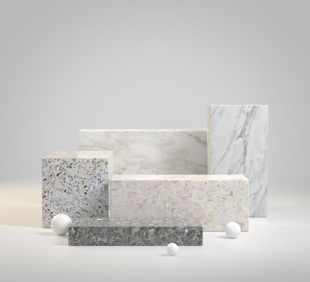 3d render mockup moderno passo vazio mármore pódio conjunto coleção ilustração de fundo abstrato