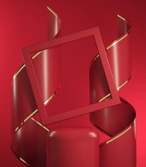 3d render mockup red stage scene com espiral fita e moldura quadrada ilustração abstrata backgroud