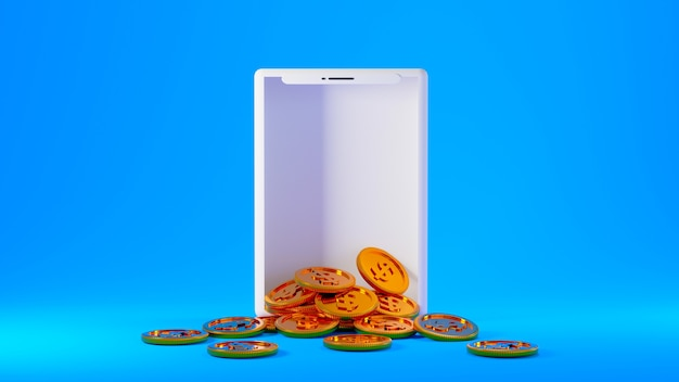 3d render moedas de ouro saindo de uma tela de smartphone branca isolada em um fundo azul