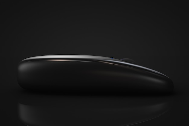 3d render mouse sem fio moderno preto em fundo preto