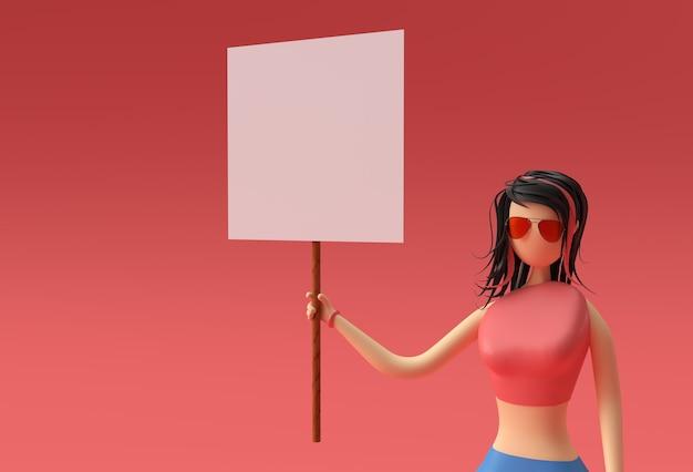 3d render mulher segurando um cartaz de painel branco sobre um fundo vermelho.