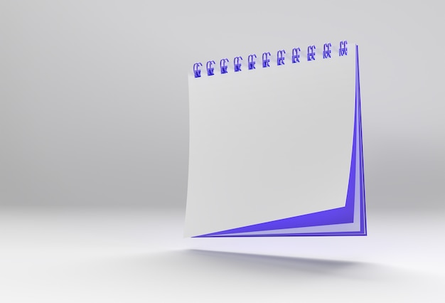 3d render notebook mock up com espaço em branco limpo para design e publicidade, vista em perspectiva da ilustração 3d.