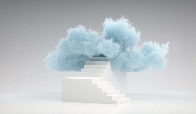 3d render nuvem azul no topo da escada branca. cena mínima de escada para colocação de produto