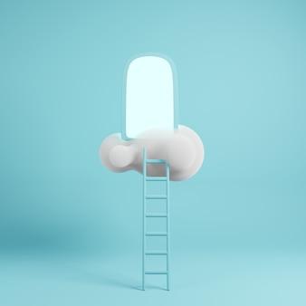 3d render nuvem com escada e portões