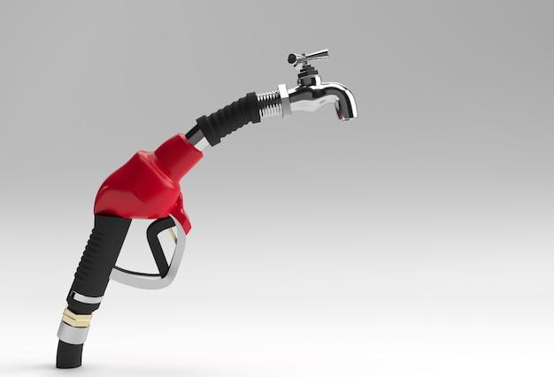 3d render o bico da bomba de combustível com torneira isolada no fundo branco.