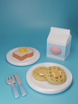 3d render o café da manhã ajustado no fundo azul.