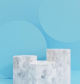 3d render, o fundo do pódio de mármore azul, branco fundo luxuoso para cosméticos ou outro produto.