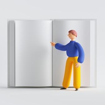 3d render o personagem de desenho animado do homem em frente a um grande livro aberto.