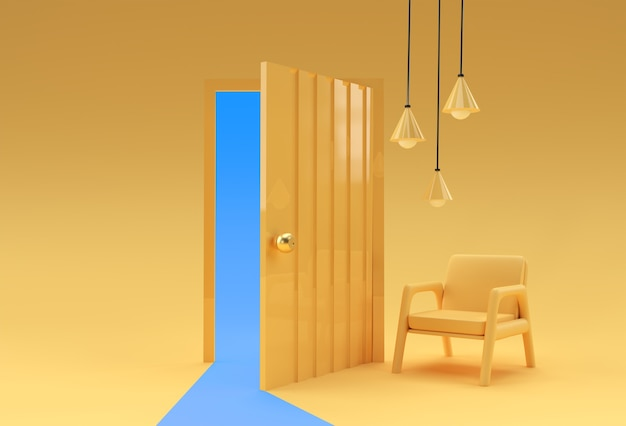 3d render open door símbolo de novas carreiras, oportunidades, empreendimentos e iniciativas de negócios. projeto de conceito de negócio.