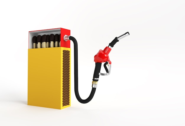 3d render opened blank matchbox mockup com bocal da bomba de combustível isolado na cor de fundo