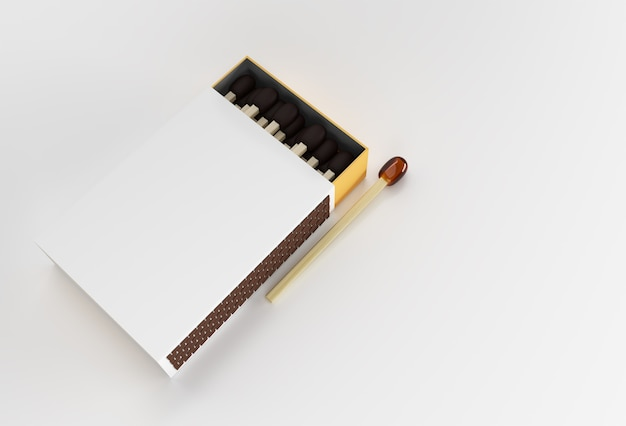 3d render opened blank matchbox mockup isolado em color background