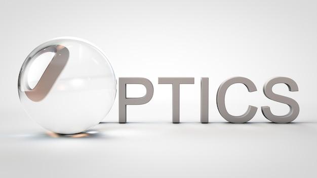 3d render ótica palavra com o como uma lente ótica em fundo branco