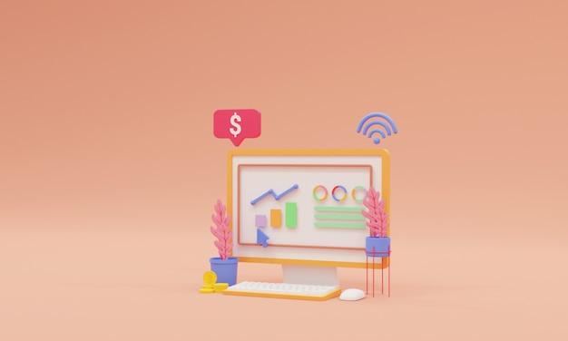 3d render otimização de seo e conceito de marketing de seo