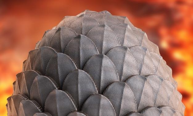 3d render ovo de dragão em fundo de fogo. ilustração de ovo de páscoa fanstasy