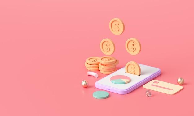 3d render pagamento por transferência de dinheiro online