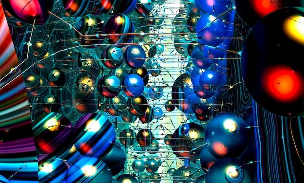 3d render. paisagem fractal - padrões em camadas em cada lado da imagem, esferas recursivas alinhadas entre os padrões de linhas com diferentes padrões geométricos interativos. fundo fractal.