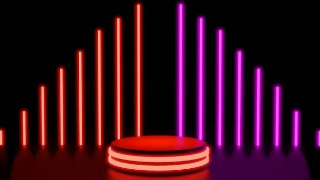 3d render palco de fundo brilho vermelho