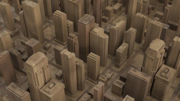 3d render peça cidade abstrata feita de material de madeira. arranha-céus e edifícios baixos de arquitetura.