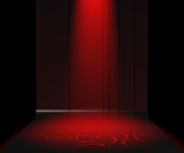 3d render pedestal para exibição, carrinho de produto em branco, luz vermelha
