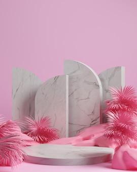 3d render pedra, folha de palmeira e fundo rosa, cor rosa gemotric com pódio de mármore, display ou vitrine.