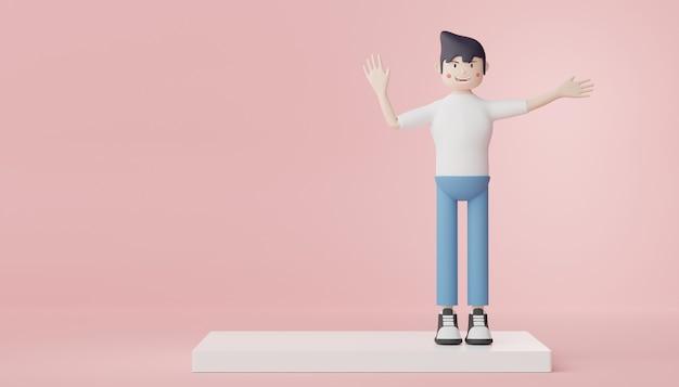 3d render personagem de homens em camiseta branca, jeans e tênis preto. retrato de pessoas inteligentes