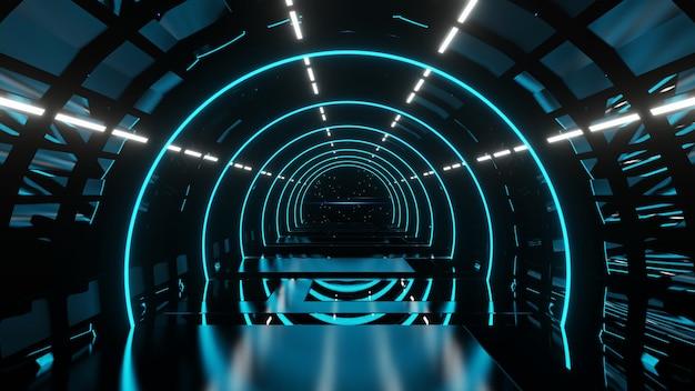 3d render perspectiva alienígena corredor azul com luzes de néon azuis fundo abstrato