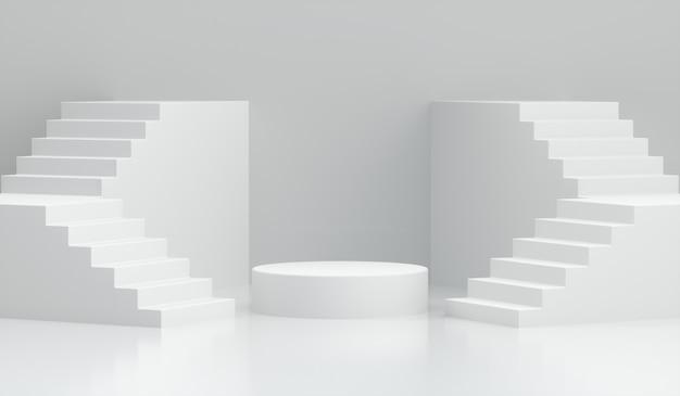 3d render pódio com escadas em branco
