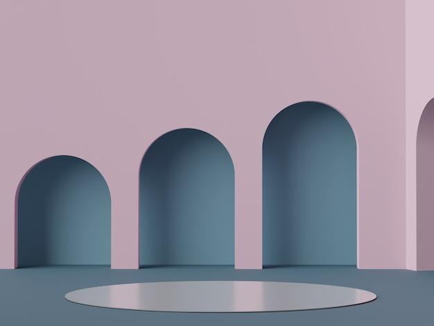 3d render pódio mínimo em azul e lilás para simulação e exibição de produtos