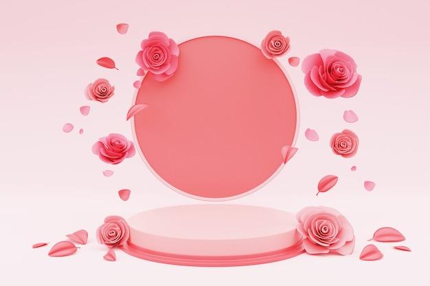 3d render pódio para colocação de produtos com rosa dos namorados.