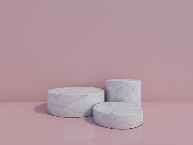 3d render pódios de mármore branco isolados em fundo rosa claro