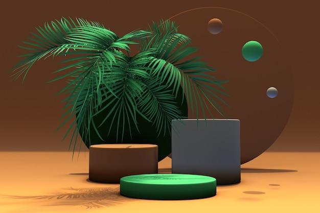 3d render pódios em marrom, verde e cinza com folhas tropicais verdes em fundo laranja