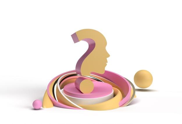 3d render ponto de interrogação com elemento de design ilustração de publicidade de produtos de exibição de rosto humano