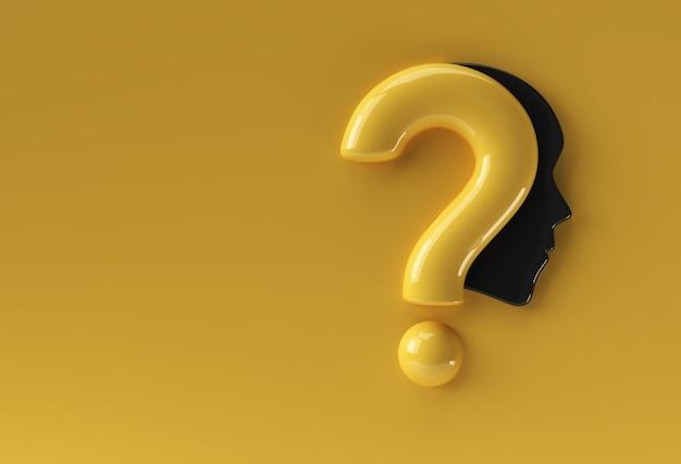 3d render ponto de interrogação com ilustração de ícone de rosto humano elemento de design.