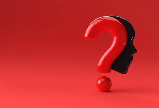 3d render ponto de interrogação com ilustração do ícone do rosto humano elemento de design.