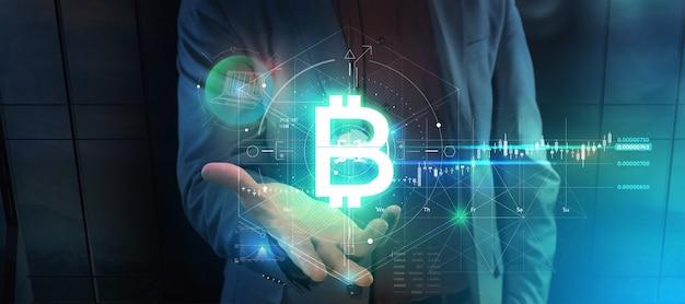 3d render projeção virtual de infográficos bitcoin na palma da mão de um homem