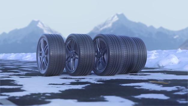 3d render quatro rodas de carro em uma estrada com neve